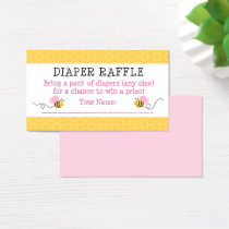 Pink Bumble Bee Diaper Raffle Tickets