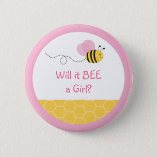 Pink Bumble Bee Gender Reveal Pinback Button