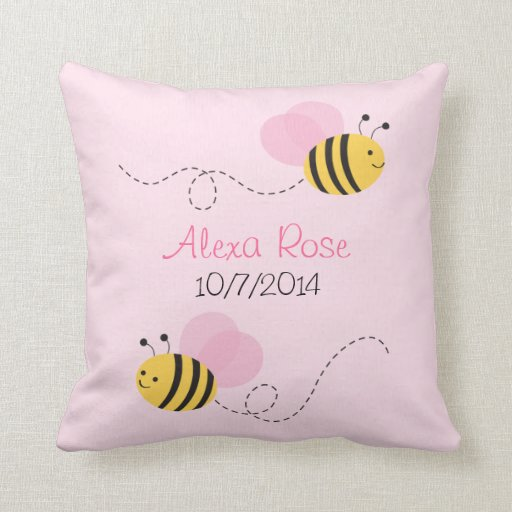 Pink Bumble Bee Keepsake Throw Pillow