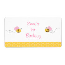 Pink Bumble Bee Water Bottle Labels