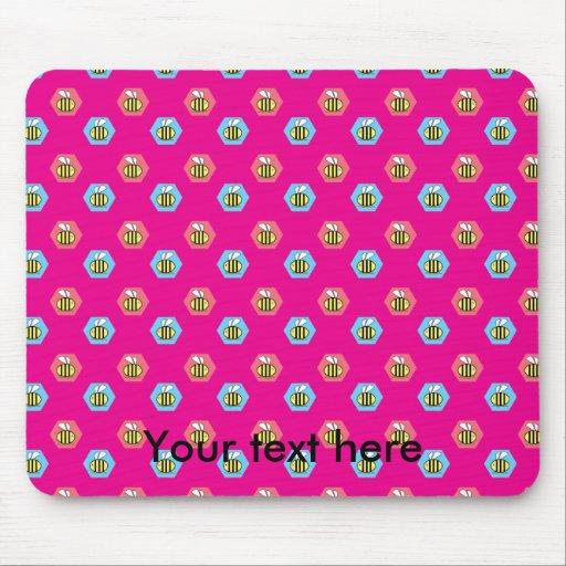 Pink bumblebee pattern mousepad