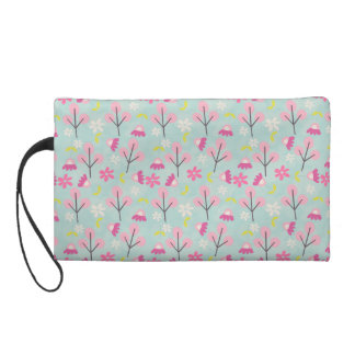 Pink Bunnies and Flowers Wristlets