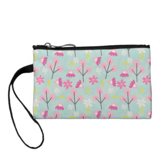 Pink Bunnies and Flowers Change Purse