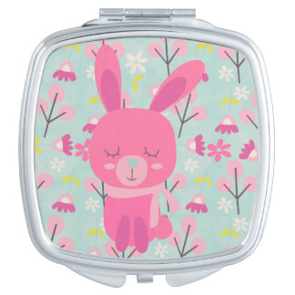 Pink Bunnies and Flowers Compact Mirror
