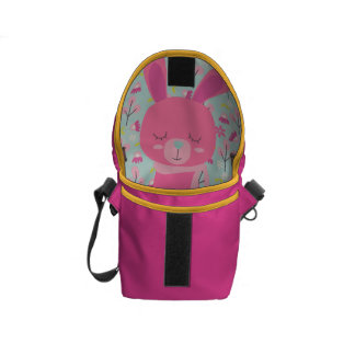 Pink Bunnies and Flowers Courier Bag