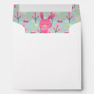 Pink Bunnies and Flowers Envelope