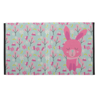 Pink Bunnies and Flowers iPad Folio Cover
