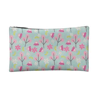Pink Bunnies and Flowers Makeup Bag