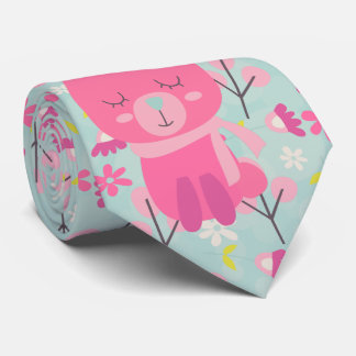 Pink Bunnies and Flowers Tie