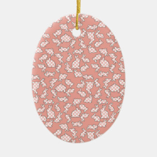 Pink Bunnies Pattern Double-Sided Oval Ceramic Christmas Ornament