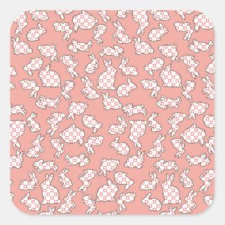 Pink Bunnies Pattern Square Sticker