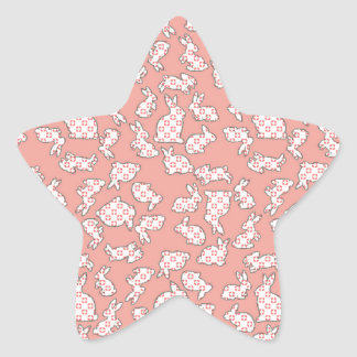 Pink Bunnies Pattern Star Sticker