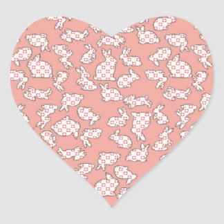 Pink Bunnies Pattern Heart Stickers