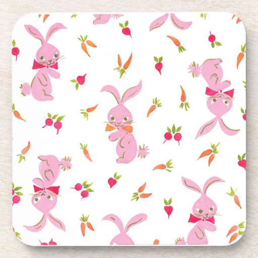 Pink Bunnies With Carrots Drink Coaster