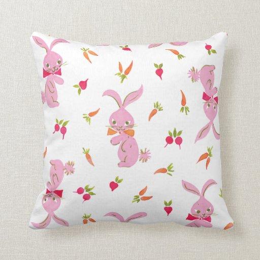 Pink Bunnies With Carrots Throw Pillows