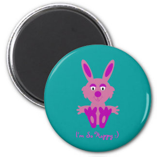 Pink Bunny 2 Inch Round Magnet