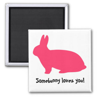 Pink Bunny 2 Inch Square Magnet
