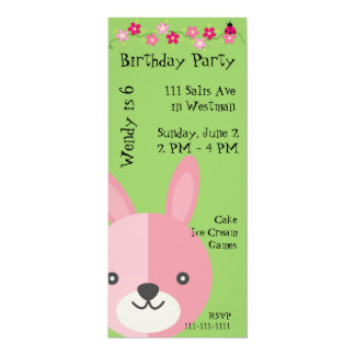 Pink Bunny and Flowers Birthday Invitation