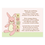 Pink Bunny Baby Shower Book Insert Request Card Business Card