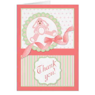 Pink Bunny Baby Thank You Greeting Card
