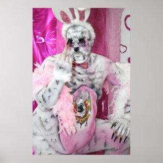Pink bunny - bañas poster bunny imprimes print
