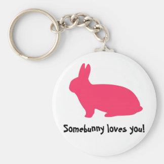 Pink Bunny Basic Round Button Keychain