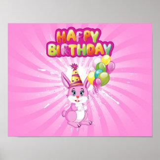 Pink Bunny Birthday Cartoon Poster