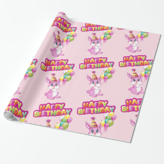 Pink Bunny Birthday Cartoon Wrapping Paper