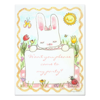 pink bunny birthday invite