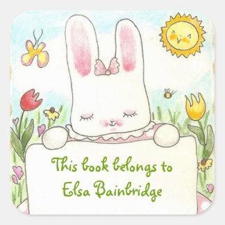 Pink bunny bookplate