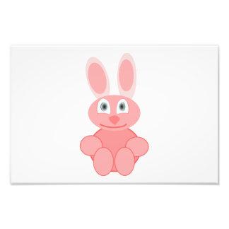 Pink bunny cartoon photo print