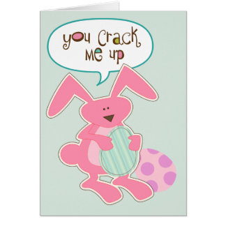 Pink Bunny Cracked Egg Easter Card