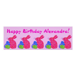 Pink Bunny Easter Themed Birthday Party Banner Poster
