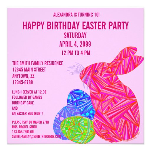 Pink Bunny Easter Themed Birthday Party Invite