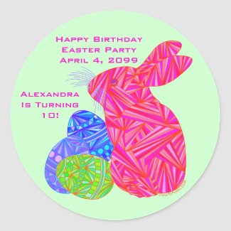 Pink Bunny Easter Themed Birthday Party Stickers