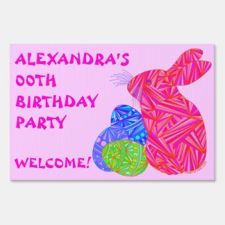 Pink Bunny Easter Themed Birthday Party Yard Sign