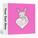 Pink Bunny Happy Valentine's Day 3 Ring Binders