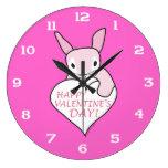 Pink Bunny Happy Valentine's Day Clocks
