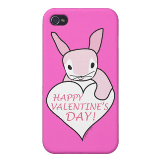 Pink Bunny Happy Valentine's Day Covers For iPhone 4