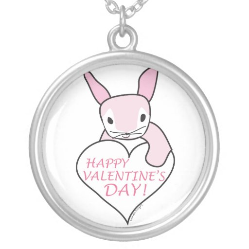 Pink Bunny Happy Valentine's Day Personalized Necklace