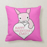 Pink Bunny Happy Valentine's Day Pillows