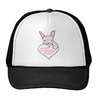 Pink Bunny Happy Valentine's Day Trucker Hat