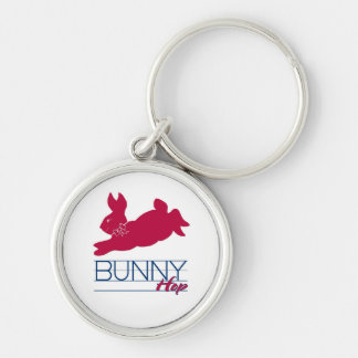 Pink Bunny Hop Silver-Colored Round Keychain