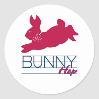 Pink Bunny Hop Classic Round Sticker