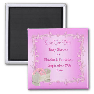 Pink Bunny in Crib Baby Shower Save The Date Magnets
