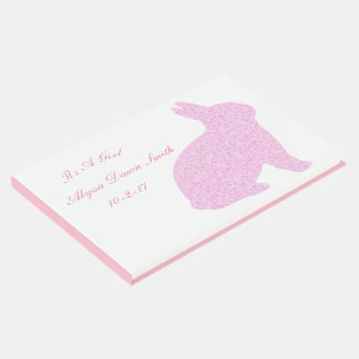 Pink Bunny It's A Girl Baby Shower Guestbook