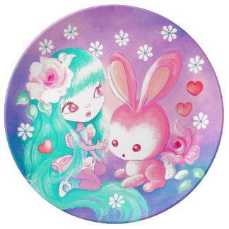 Pink Bunny Love Dinner Plate