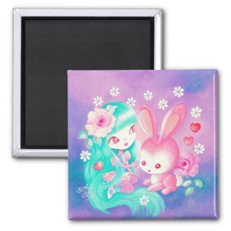 Pink Bunny Love Magnet
