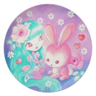 Pink Bunny Love Melamine Plate