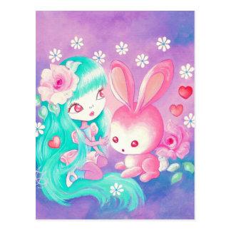 Pink Bunny Love Postcard